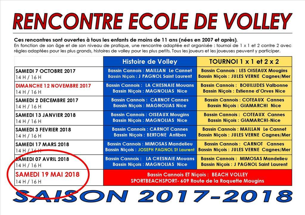 ECOLE DE VOLLEY : CHANGEMENT DE DATE