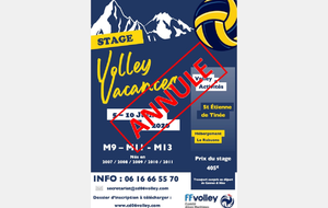 STAGE VOLLEY VACANCES 2020 ANNULE